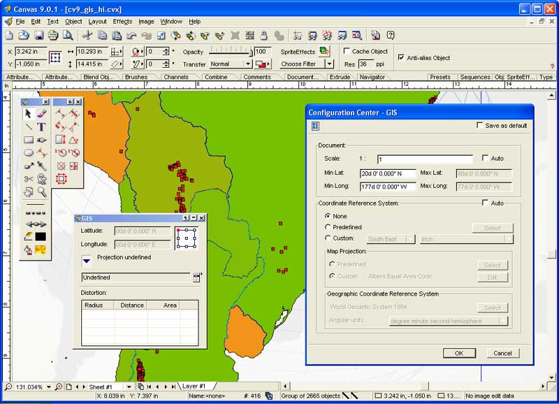 GIS Mapping support plus illustration, image editing, & presentation feature