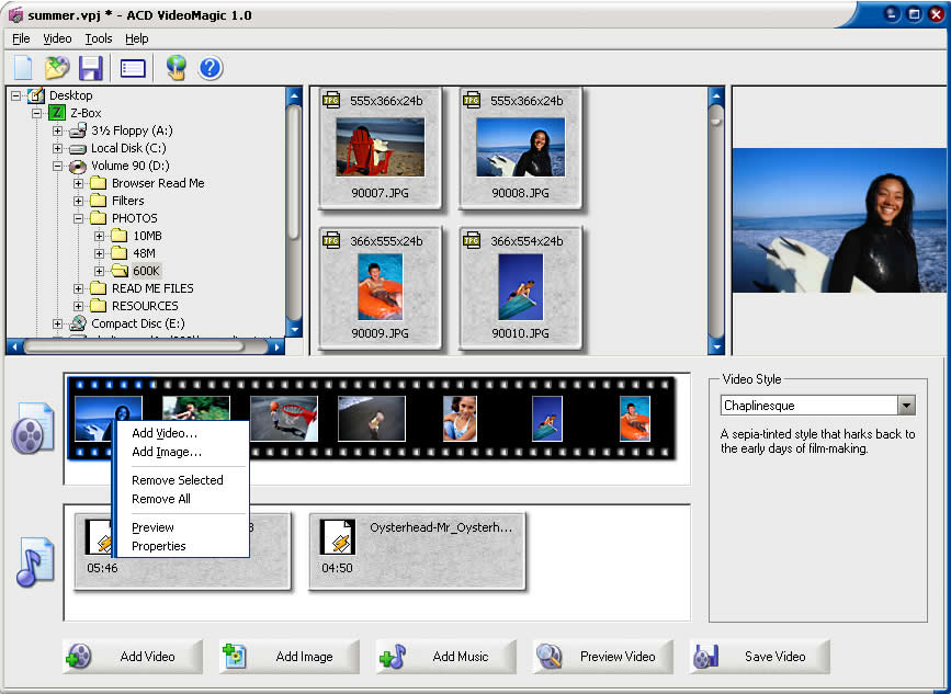 Automatic digital video editing software that makes polished movies in minutes.