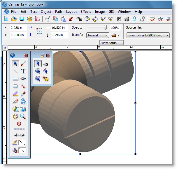 View the object in your canvas document 3d editor